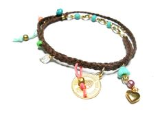 Double Braided Brown Wrap Friendship Bracelets - Free People inspired gold medallion heart glass beads crystals fall 2012