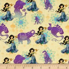 Disney Princess Jasmine Holding Lamp Multi from @fabricdotcom  Licensed by Disney to Springs Creative Products, this cotton print is perfect for quilting, apparel and home décor accents. Colors include yellow, teal, purple and black. This is a licensed fabric and not for commercial use.