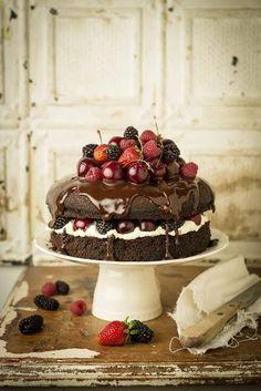 Gâteau aux fruits rouges et chocolat