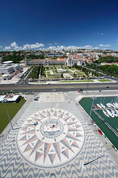 Wind Rose Square in front of the Discoveries monument, a bit ahead, the Jerónimos Monastery Portugal Most Beautiful Cities, Beautiful Places To Visit, Places To See, Places Ive Been, Visit Portugal, Portugal Travel, Spain And Portugal, Destinations, The Beautiful Country