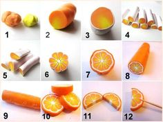 Fimo (Polymer Clay) Orange Cane Tutorial or use fondant Diy Fimo, Cute Polymer Clay, Polymer Clay Canes, Polymer Clay Miniatures, Polymer Clay Projects, Polymer Clay Creations, Diy Clay, Polymer Clay Jewelry, Cane Fimo