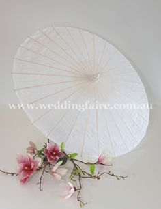 Oriental Polyester Parasol - White - The Wedding Faire