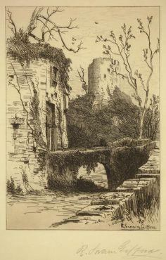 R. Swain Giffors / The Baron of St. Castine / Etching, 1879 / Etching revival / Ruins / Castle / Intaglio / Printmaking / Drawing / Art / Decor