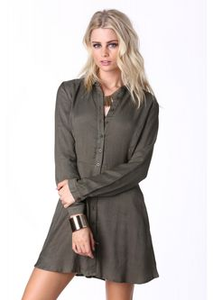 Business Casual Buttondown Dress in Olive   Necessary Clothing