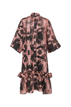 Short Pink Concrete Spring Resort, Black Flowers, Travel Wardrobe, Shirt Sleeves, Ruffles, Concrete, Kimono Top, Men Casual, Shirt Dress