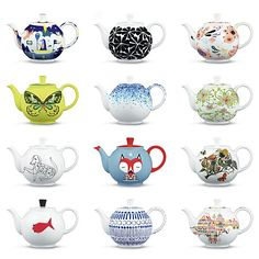 Crate and Barrel's 50th Anniversary Artist-Designed Teapots. I like the blue and white one in the bottom row!