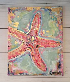 Starfish painting by on Etsy Starfish Painting, Starfish Art, Diy Painting, Starfish Crafts, River Painting, Bd Art, Painted Shells, Summer Art, Summer Beach