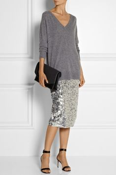 By Malene Birger silver sequin pencil skirt, a slouchy gray sweater, minimalist sandals Sequin Skirt Outfit, Silver Sequin Skirt, Sequin Pencil Skirt, Skirt Outfits, Pencil Skirts, Sequined Skirt, Looks Style, Style Me, Classy Outfits