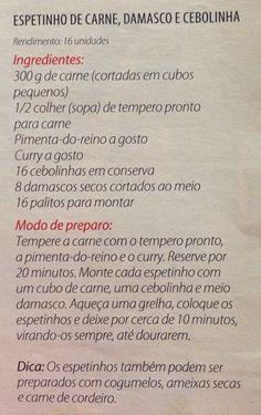 ESPETINHO DE CARNE DAMASCO E CEBOLINHA