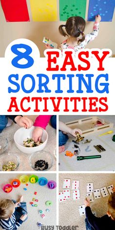 8 Simple Sorting Activities for Toddlers: these activities are so easy and so awesome! Toddlers will love these quick activity ideas.