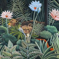 'Leo's Jungle' painted in the style of Henry Rousseau as a christening present.