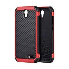 DW Carbon-tech Hybrid ZTE Grand X3 / Warp 7 Case - Red