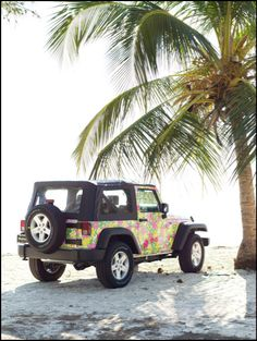 perfection! the beach and a jeep (: only thing is whats with the paint job on the jeep? id change it for sure!