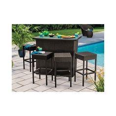Outdoor Bar Glass Top Stools Wicker Furniture Weather Resistant Dark Brown New