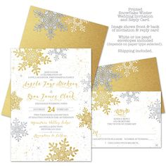 Snowflake Winter Wedding Invitation and RSVP Reply by wasootch