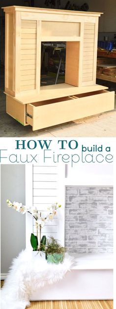 Shiplap Faux Fireplace with faux brick lime wash and chalk paint, perfect for the home living room