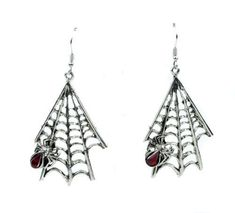 """BRAND NEW! SPIDER WEB EARRINGS 2"""" inches long Small Swarvoski Crystal in spider Surgical Steel / hypoallergenic Base Made in the USA (Lead and Nickle Free Pewter Metal)"""