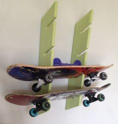Great idea for storing boards and looks good too. http://documama.org/2012/03/12/d-i-y-skateboard-rack/
