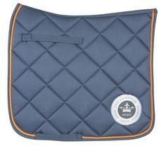 PFIFF Dressage saddle cloth ''Ried'' - smokey blue with orange trim