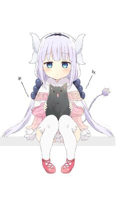 Kanna with a black cat