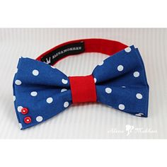 Chic Handmade Blue Polka Dot & Red Pre-tied Double Bow Tie