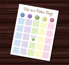 Cute As A Button Baby Shower BINGO - Digital File. $10.00, via Etsy. Bingo Board, Baby Shower Bingo, Shower Time, Baby Shower Gender Reveal, Baby Showers, Party Favors, Shower Ideas, Handmade Gifts, Button
