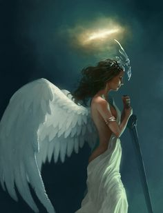 ANGELES - An angel is a supernatural being or spirit, found in various religions and mythologies. In traditional art, angels are often depicted with wings on their back, representing a Christian image of God attendant.