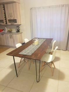Custom made hairpin table with tapered style top. Steel and wood furniture. Handmade by Sami Decor and Design. Proudly South African samidecoranddesign@gmail.com Industrial Furniture, Wood Furniture, Hairpin Table, Handmade Furniture, Hair Pins, Dining Table, African, Steel, Top