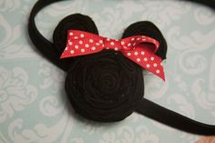 Mickey or Minnie Mouse Inspired Rosette Headband Newborn/Baby/Kids/Girl/Toddler/Infant/Adult Photoprop via Etsy