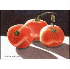 Original Art Acrylic Painting - Luminous Tomatoes - by Patricia Ann Rizzo on eBid United States