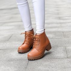 Women's Lace-up Ankle Boots   Upper Material: Leather Outsole Material: Rubber Heel height: 5cm Color: Black, Brown #omgnb