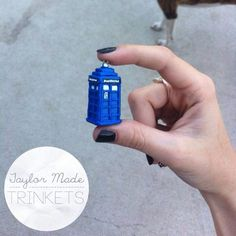 Doctor Who - Tardis Necklace - Polymer Clay Fimo Sculpey III