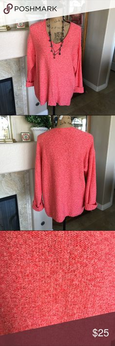 "💜HP💜🆕 Listing J.Jill Oversized V Neck Sweater This sweater is so soft! It's from the Pure Jill collection. The color is a coral marl knit. The bust measures approx 44"" and the length 26"". I removed the tags but never wore this so it is new without tags! 56% Cotton, 30% Acrylic. 14% Nylon. I am 5'5"" and the length was great on me. Could fit size M-XL depending on how loose you want the fit to be. J. Jill Sweaters"
