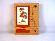 Get Well card with trees and embellishments. Image, ink and ribbon by Stampin' Up!  https://www.etsy.com/listing/205072220/hand-stamped-get-well-card-with-trees