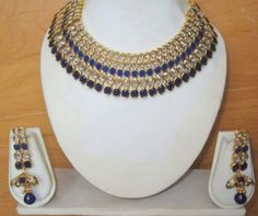 BLUE WHITE  CRYSTAL NECKLACE JHUMKA  EARRINGS  GOLD PLATED SET