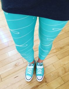 These Lularoe leggings are amazing - so pretty and comfy! Styled with the Irma tunic and converse. LLR Tiffany blue