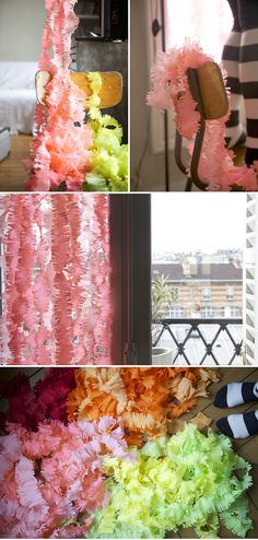 Crepe paper garland.Can't tell if it's a lot of work but the directions are not in English. Just look at the pics and follow.