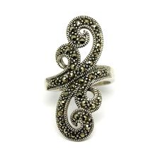 Elongated Marcasite Sterling Silver Swirl Ring