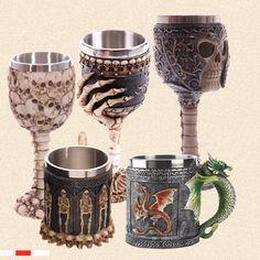 Personalized Coffee Mugs Double Wall 3D Skull Mugs Coffee Cup Mug Skull Knight Tankard Dragon Drinking Cup for Halloween Decor