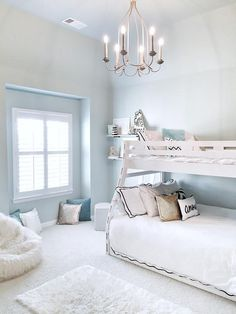 Love the idea of a sky blue, white and gold for a girl's bedroom - pretty and soft but not too girly