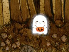 Little ghost and pumpkin Art Print by Laure S - X-Small Halloween Art, Holidays Halloween, Happy Halloween, Halloween Illustration, Illustration Art, Cute Ghost, Dibujos Cute, Fall Wallpaper, Halloween Wallpaper