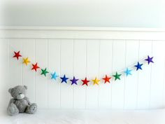 Rainbow Star garland  felt star banner  Nursery by LullabyMobiles, $81.00