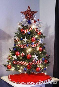 decorated patriotic tabletop mini christmas tree red white blue - Red White And Blue Decorated Christmas Tree