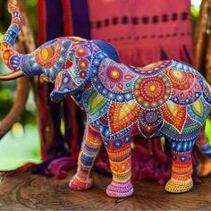 dot painted elephant