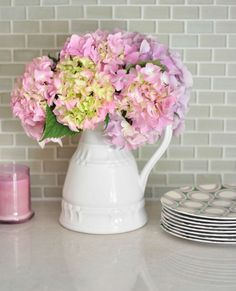 Looking for an effortless arrangement? Try pink hydrangeas.