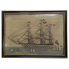 Sailor's Woolwork Ship Picture | From a unique collection of antique and modern nautical objects at https://www.1stdibs.com/furniture/folk-art/nautical-objects/