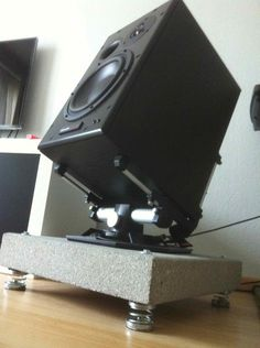 Hi there One week ago I bought a couple of active powered Dynaudio Monitors. I need them for Recording/Monitoring and as a hifi speaker. Hifi Speakers, Hifi Audio, Floor Standing Speakers, Room Acoustics, Speaker Box Design, Carpentry Projects, Audio Room, Audio Design, Monitor Stand