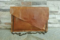 Tan Leather Clutch Bag with Diagonal Flap Camel by MikaMikaBags