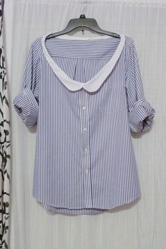 Thrifted Mens Shirt With Diy Peter Pan Collar  •  Free tutorial with pictures on how to make a shirt in under 60 minutes