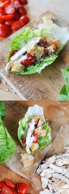 DELISH Chicken Caesar Lettuce Wraps with Homemade Parmesan Croutons